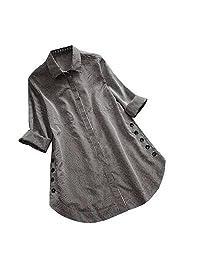 Womens Loose Button Long Shirt Dress Cotton Classic Shirt for Work Casual Tops Blouse