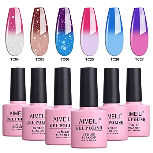 AIMEILI Temperature Color Changing Soak Off UV LED Chameleon Gel Nail Polish Set Of 6pcs X 10ml- Kit Set 14 (For Your Nails Only Color Changing Nail Polish)