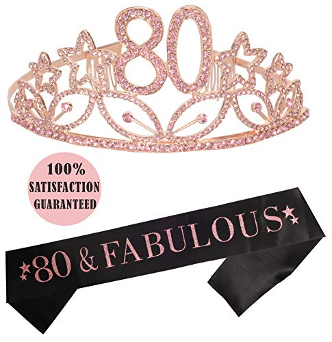 Pink 80th Birthday Tiara and Sash | HAPPY 80th Birthday Party Supplies | 80th Black Glitter Satin Sash and Crystal Tiara Birthday Crown for 80th Birthday Party Supplies and Decorations (Pink)