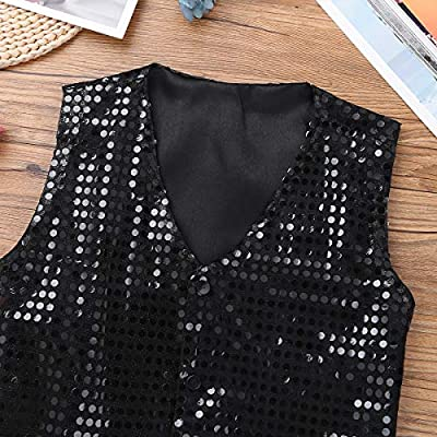winying Boys Shiny Sequins Vest Waistcoat Jazz Dance Choir Party Costume: Clothing