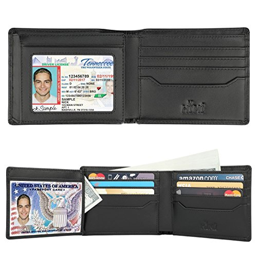 Wallets for Men - RFID Blocking Trifold Genuine Leather Wallet With 2 ID Window (Vintage Black) by HIMI