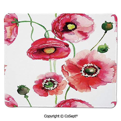 (Premium-Textured Mouse pad,Stylized Poppy Blossoms Buds Artsy Seasonal Illustration Print,for Laptop,Computer & PC (15.74