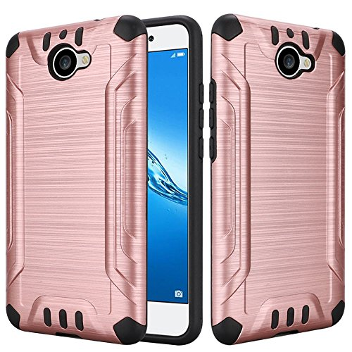 Huawei Ascend XT2 H1711 / Huawei Elate 4G LTE Case Slim Armor Heavy Duty Brushed Metal Metallic Finish TPU Shock Impact Dual Layer Protection (Rose Gold)