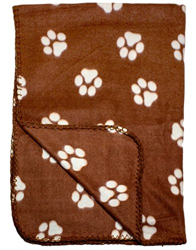 Brown Fleece Pet Blanket/Throw with Paw Print Design 39x27 Inches For Small Animals by bogo (Paw Prints Pet Supplies)