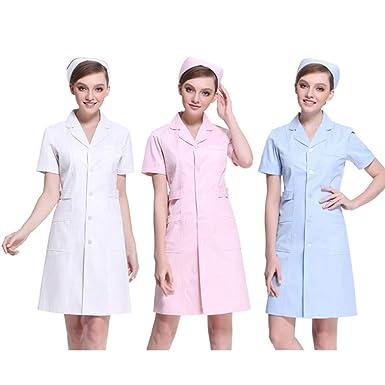 ESENHUANG Mujeres Blanco Rosa Azul Medias Mangas Cortas Médicas Servicios Médicos Ropa De Enfermera Uniforme Algodón Proteger La Capa De Laboratorio: ...