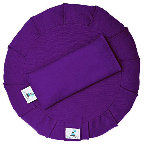 Zentra Yoga Meditation Cushion with Bonus Lavender Scented Eye Pillow | Made from Natural Eco-Friendly Materials (Purple)