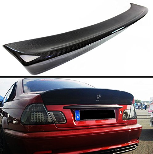 Cuztom Tuning CSL Style Carbon Fiber Rear Trunk Duckbill Highkick Spoiler Wing for 1999-2005 BMW E46 3 Series 4 Door Sedan