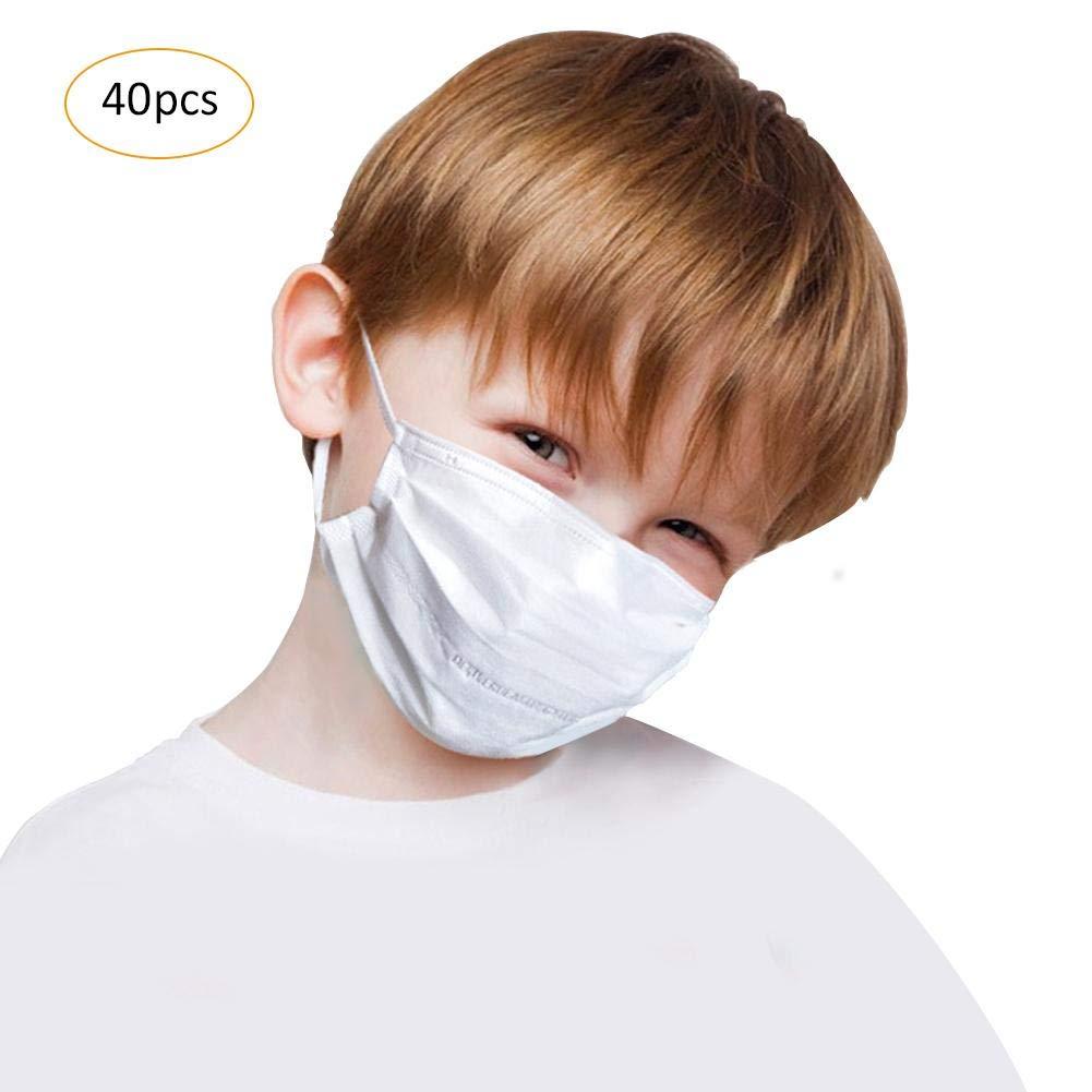 Per 40pcs children' s disposable Ear Loop Face Mask 4-layers Dust Filter for Kids 14.5× 9.5cm-Blue