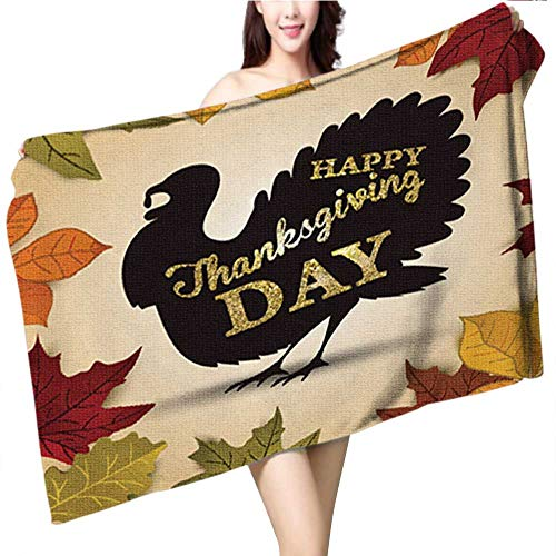Cotton Craft - Luxury Beach Towel Be Thankful Lettering Vector Illustration of Turkey for Thanksgiving Day Invitation or Festive Greet Beach Blanket Size:39.4 x 19.7 -
