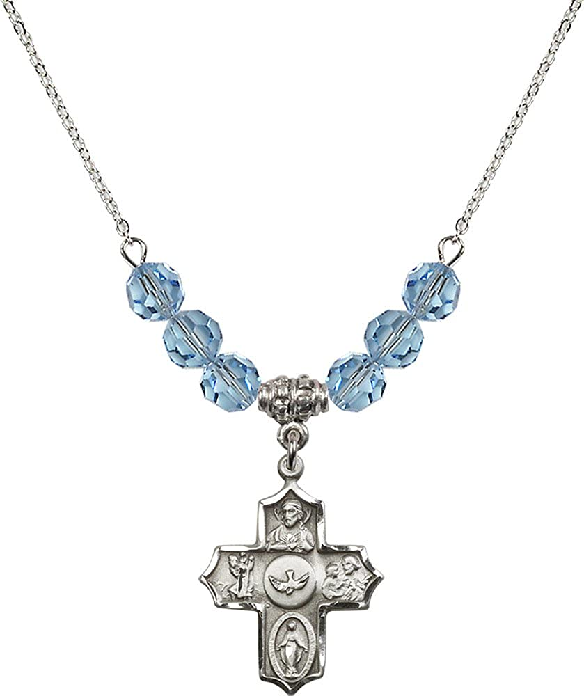 18-Inch Rhodium Plated Necklace with 6mm Aqua Birthstone Beads and Sterling Silver 5-Way Charm.