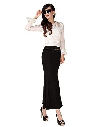 Cóctel De La Mujer Manguera Negra Lápiz Falda Cola De Moda ...