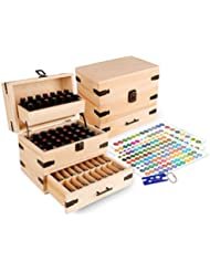 Wooden Essential Oil Multi-Tray Organizer - Holds 74 Oils
