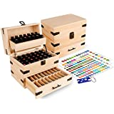Wooden Essential Oil Multi-Tray Organizer - Holds 74...