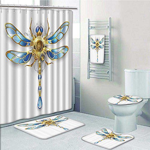5 Piece Bathroom Rug Set/3 Piece Bath Rugs with Fabric Shower Curtain and Bath Towel,Close Up of Mechanical Dragfly with Multifaceted Eyes and Gears Body Bathroom - Curtain 3 Shower Stripe