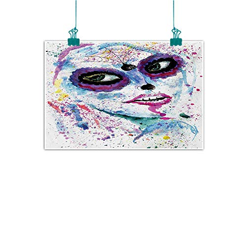 (Art Oil Paintings Girls Grunge Halloween Lady with Sugar Skull Make Up Creepy Dead Face Gothic Woman Artsy Canvas Prints for Home Decorations W20 xL16 Blue)