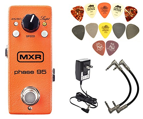 MXR M290 Phase 95 Mini Phaser Pedal w/ 12 Pack Picks & 2 Patch Cables by MXR