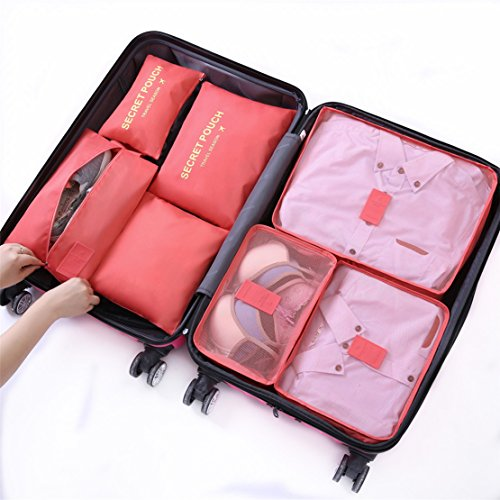 Waterproof 5-Piece Packing Bags (Red) - 2
