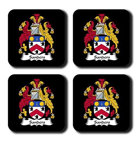 Sanders Coat of Arms / Family Crest Coaster Set, by Carpe Diem Designs – Made in the U.S.A.