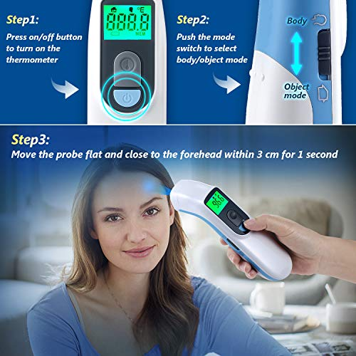 Thermometer for Adults Forehead, Touchless Infrared Digital Thermometer, 1S Fast Temperature Check, Body & Object Mode 2 in 1, Memory Function by VPAYI for Adult Kids Baby (Batteries Included)
