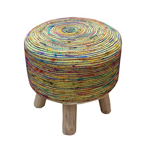 Natural Swirl Finish - Great Deal Furniture 305992 Maya Silk Swirl Stool, Blue and Multi-Colored Ⅲ, Lime Natural Finish