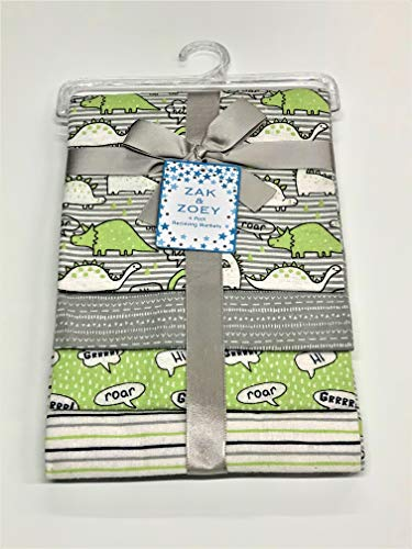 Lovable and Cozy 4-Pack Receiving Baby Blankets - 100% Cotton 26' x 26' Your Little One Will Love (Green Dinosaur)