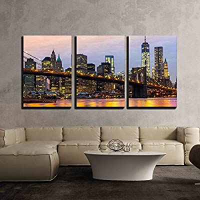 3 Piece Canvas Wall Art - Manhattan Skyline at Sunrise, New York City, USA. - Modern Home Art Stretched and Framed Ready to Hang - 16