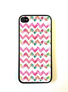 Pink Floral Chevron iphone 4 Cover Iphone 4s Case - For iphone 4 Cover Iphone...