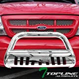 grill guards ford ranger - Topline Autopart Polished Stainless Steel Bull Bar Brush Push Front Bumper Grill Grille Guard With Skid Plate For 98-11 Ford Ranger