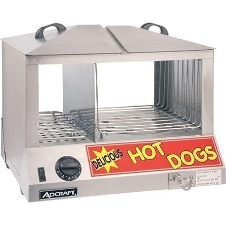 Adcraft HDS 1200W Side By Side Hot Dog Bun Steamer 18 25 Inch X 14 5 Inch X 15 Inch 1200w 120 Volt