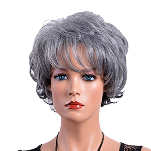 COPLY Women's Short Curly Gray/Grey Wig With Bangs Synthetic Heat Resistant Hair Wig African American Wig Gift for Mom or Grandama