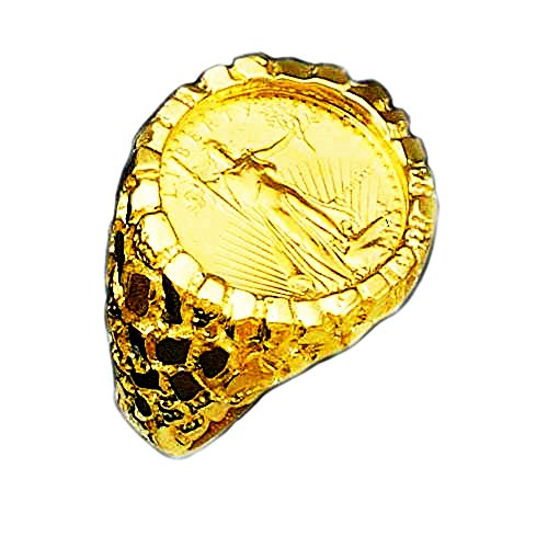 18K Yellow Gold Men's 27MM Nugget Ring With a 22 K 1/4 Oz American Eagle Coin-Random Year Coin