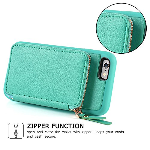 iPhone 6 Wallet Case, iPhone 6 Case with Card Holder, ZVE iPhone 6 Case with Credit Card Holder Slot & Zipper Wallet Money Pockets, Protective Cover for Apple iPhone 6 /6S 4.7 inch - Mint Green by ZVEdeng (Image #5)