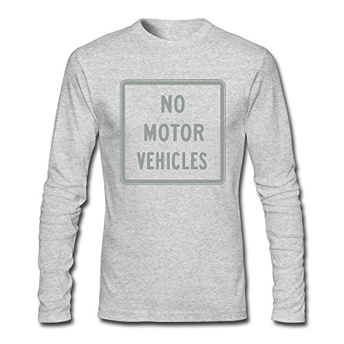 Johnson Motors T-shirt - Zhangjiawenn Men's No Motor Vehicles Sign Long Sleeve T-Shirt S HeatherGray