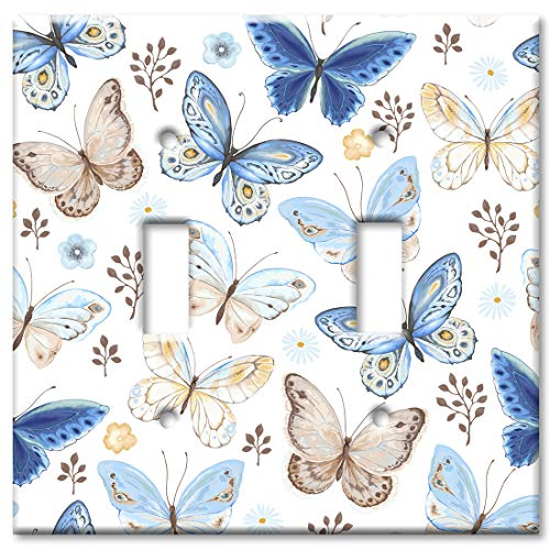 Art Plates Brand Double Gang Toggle Switch/Wall Plate - Blue & Tan Butterfly Toss