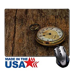 """MSD Natural Rubber Mouse Pad/Mat with Stitched Edges 9.8"""" x 7.9"""" old clock vintage picture in wood background Image ID 27188383"""