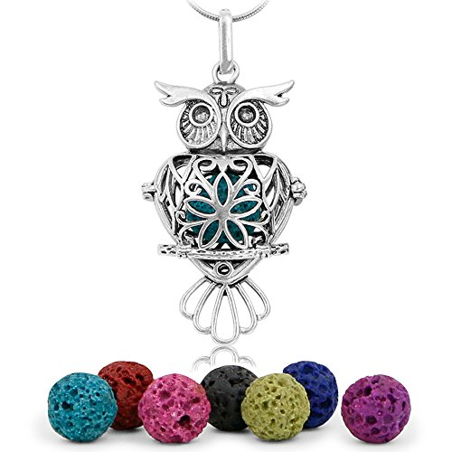 Maromalife Premium Owl Lava Stone Aromatherapy Essential Oil Diffuser Necklace Locket Pendant Gift Set with 24