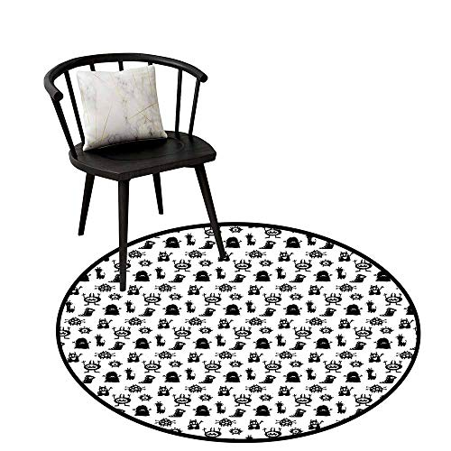 Distressed Style Circular Rug Alien,Monochrome Monster Silhouettes Childish Drawings of Otherworldly Beings Halloween,Black White,Circular Carpet Bedroom A Living Room Desk Seat Cushion Carpet 20