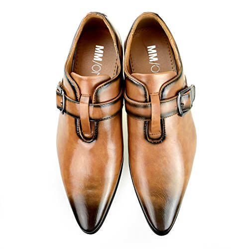 MM / ONE Mens Monkstrap Schuhe Oxford Schuhe Kleid Schuhe Big Size Kingsize Casual Dark Brown Black Chmpt152-1braun