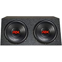 2) CRUNCH PZX12D4 12 1200W Car Audio 4 Ohm DVC Subwoofers + Sealed Angled Box