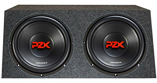 Crunch PZX12D4 12-Inch 1200W 4 Ohm Subwoofers with Angled Box (Box 4 Ohm Subwoofer)