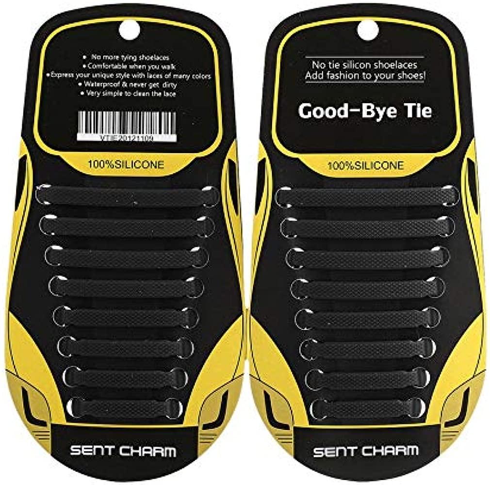 Jullyelegant 16 piezas Cordones el/ásticos sin cordones Lazy Soft Silicone T-type Cordones de zapatos para hombres Mujeres Zapatos unisex Zapatillas de deporte Cordones el/ásticos Negro