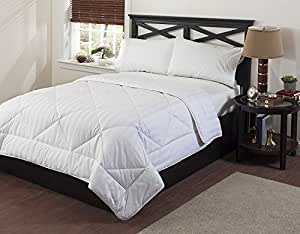 Circles Home - 100% Goose Down Alternative Comforter Duvet Insert White Lightweight High Quality Cotton 300-TC Twin/Full/queen/King