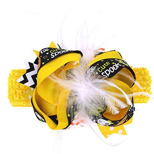 FENZL Baby Girls Halloween Ornaments Bowknot Hairpin Headdress Hair Band (Over The Top Halloween Hair Bows)