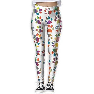 47759526439edb Amazon.com: Colorful Dog Paw Printed High Waist Yoga Capris Pants  Full-Length Yoga Workout Leggings Pants for Women: Clothing