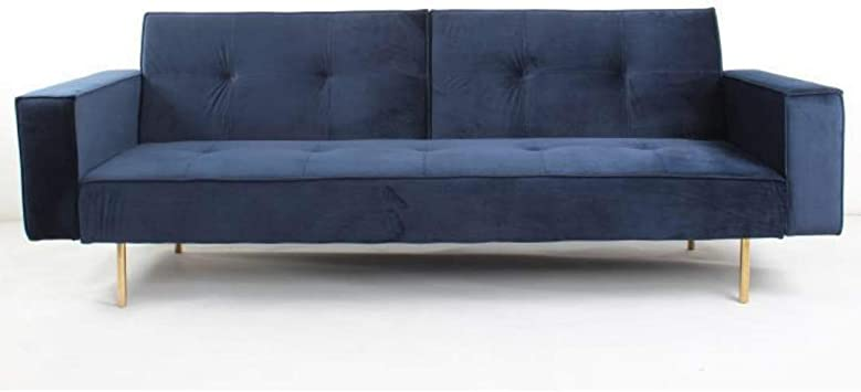 Take Me Home Furniture Nicole Modern Sofa Bed In Blue Velvet Seat For 2 Persons Metal Gold Legs Upholstery Living Room Couch Sleeper Sofa Amazon Ca Home Kitchen