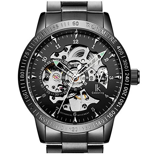 AStarsport Mens Unique Fashion Classic Casual Business Luxury Watches Hollow case Luminous Scale Skeleton Auto-Matic Mechanical Movement 50m Waterproof Full Steel Wrist Watch All - Movement Skeleton