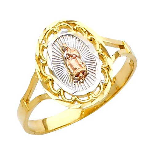 Polished 10k Tri-Color Gold Oval Miraculous Medal Charm Our Lady of Guadalupe Ring (Size 7.25) Tri Color Religious Charm Medal