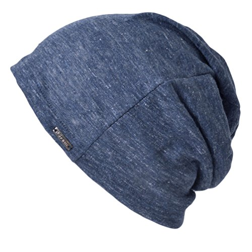 (CHARM Linen Mens Summer Beanie - Slouchy Lightweight Knit Hat Cap Made in Japan by Casualbox Navy)