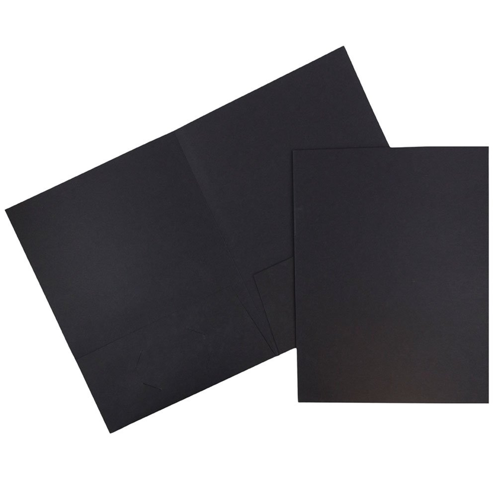 JAM Paper Linen Two Pocket Presentation Folder - Black - 100/pack