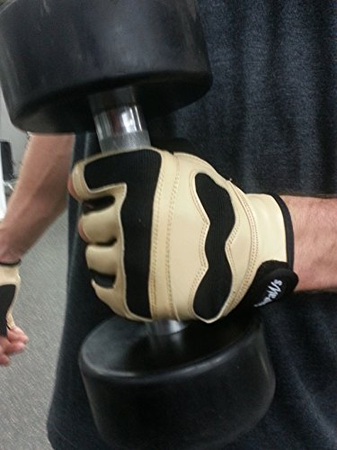 SALE! The Swolemate |Mens Half Finger Leather Workout Gloves | Gym - Training - Weightlifting - Crossfit (Jaguar Tan, XLG)